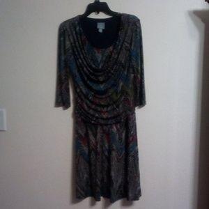 Draped neckline, multi colored dress